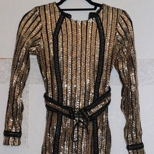 Hot Miami styles black and gold sequin dress